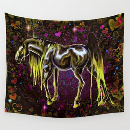 Yellow Love Horse Wall Tapestry