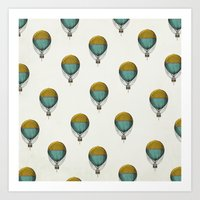 hot air balloons Art Prints featuring Hot Air Balloons by Juste Pixx Designs
