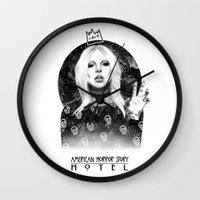 ahs Wall Clocks featuring AHS Hotel by Ash Tarek
