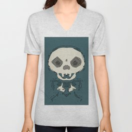 skull and bone graffiti drawing with green background Unisex V-Neck