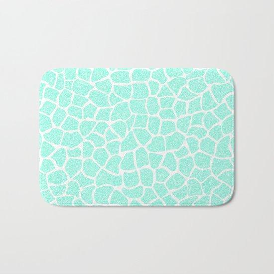 Light Blue Glitter Giraffe Print Bath Mat