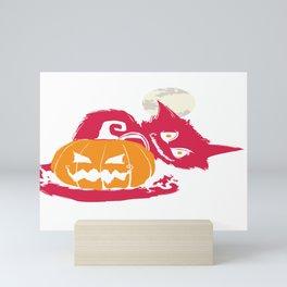 Scary Halloween Cat Jack O Lantern Moon Mini Art Print