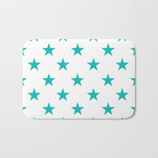 Stars (Tiffany Blue/White) Bath Mat