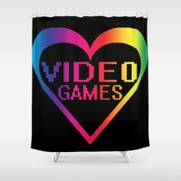 video games Shower Curtains featuring love video games by seb mcnulty