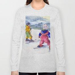 Watercolor skiing, skiers kids Long Sleeve T-shirt