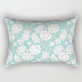 PEONIES TEAL BACKGROUND Rectangular Pillow