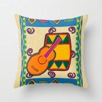 drum Throw Pillows featuring Drum by Karen Cabral Sullivan Illustration & Des