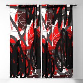 Red, Black & Gray Abstract Blackout Curtain