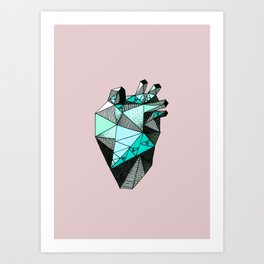 Single Minty Heart Art Print