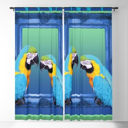 Blue Macaw with frame Blackout Curtain