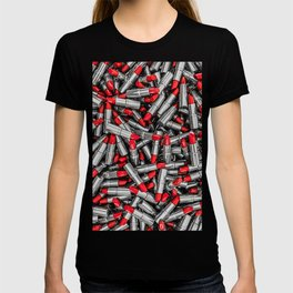 Lipstick chrome / 3D render of red chrome lipsticks T-shirt