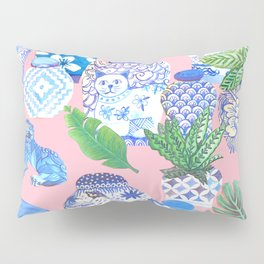 Chinoiserie Chic, Chinese ginger jars on pale pink Pillow Sham