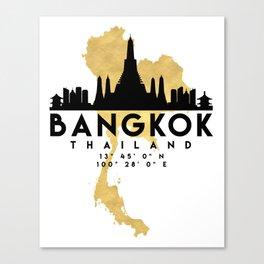 BANGKOK THAILAND SILHOUETTE SKYLINE MAP ART Canvas Print