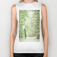 narnia Biker Tanks featuring Winter Pine Trees by Olivia Joy StClaire