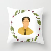 dwight schrute Throw Pillows featuring Dwight K Schrute by Cheese on Toast