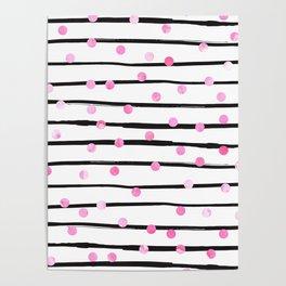 Blush pink black watercolor modern stripes polka dots Poster