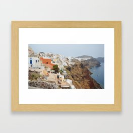 Santorini Cliffside Framed Art Print