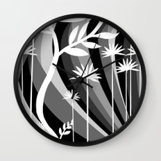 White Plants Wall Clock