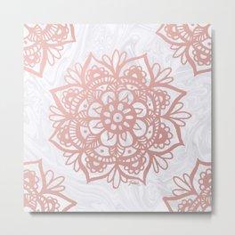 Rose Gold Mandalas on Marble Metal Print