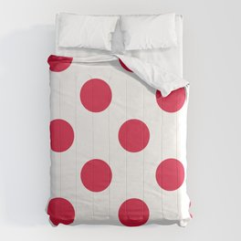 Large Polka Dots - Crimson Red on White Comforters
