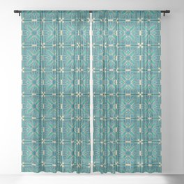 Art Deco Flowers in Teal and Faux Gold Sheer Curtain
