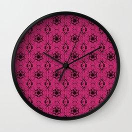 Pink Yarrow Floral Geometric Pattern Wall Clock