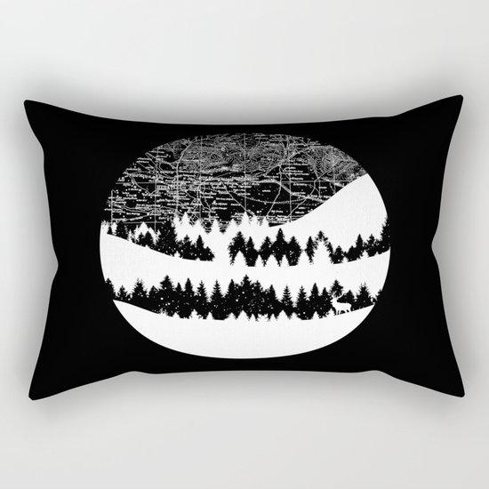Map Silhouette Circle Rectangular Pillow