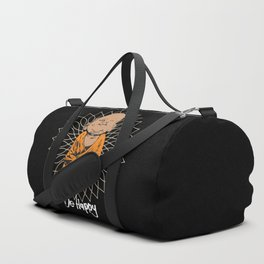 Be Happy Little Buddha Black Duffle Bag