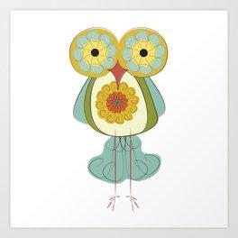 Day183: Retro Floral Owl Art Print