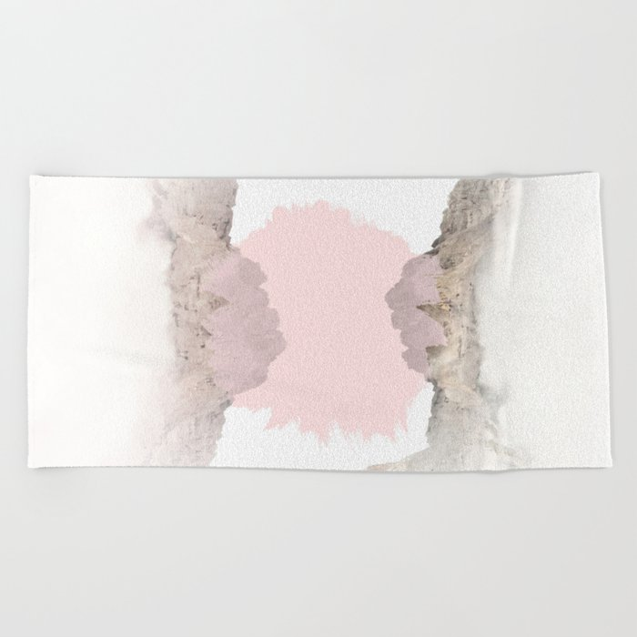 Pale Pink on Mountains Beach Towel
