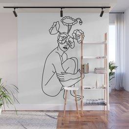 Minimal Line Art Flowers Woman Wall Mural