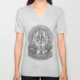 Bodhisattva Avalokiteshvara of Compassion Arms and the Imperial Guardian Lion by Kent Chua Unisex V-Neck