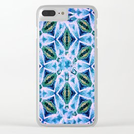 Geometric pattern in purple and blue Clear iPhone Case