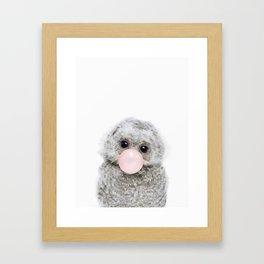 Bubble Gum Baby Owl Framed Art Print
