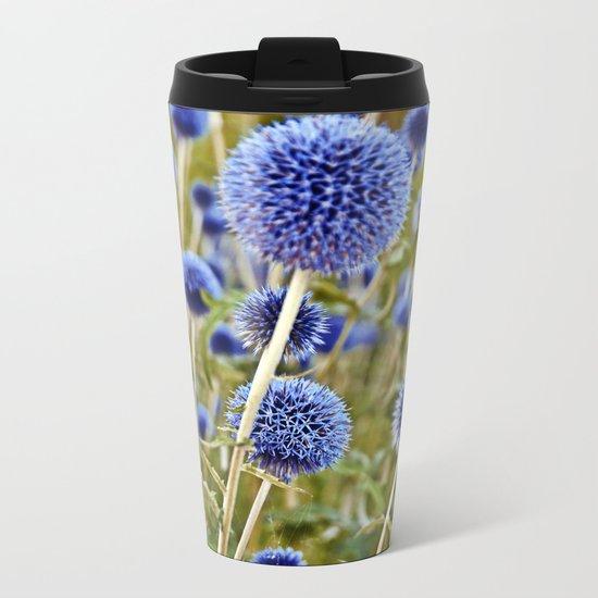 BLUE WILD THISTLE Metal Travel Mug