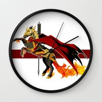 smaug Wall Clocks featuring Smaug by MarieJacquelyn