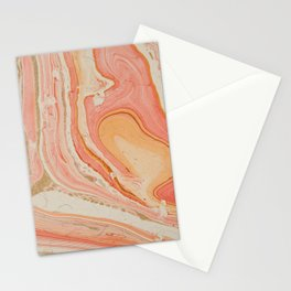 Orange Liquid Marble Stationery Cards