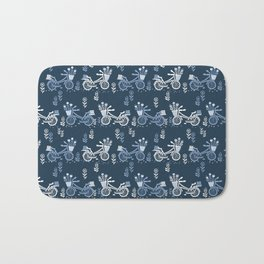 Bicycles spring cute navy pattern bike print by andrea lauren Bath Mat