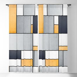 Color Composition - Grey, Blue, White, Orange - Abstract Geometric Pattern Design (1/4) Blackout Curtain