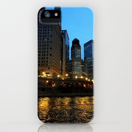 Chicago River and Buildings at Dusk Color Photo iPhone Case