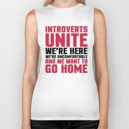 Introverts Unite Funny Quote Biker Tank