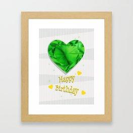 Birthstones May Emerald Heart Shaped Birthday Framed Art Print