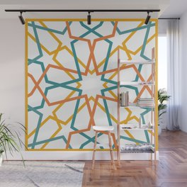 Orange Yellow Turquoise Geometric Tile Pattern Wall Mural