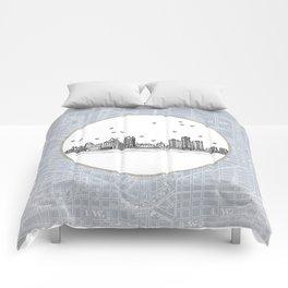 Detroit, Michigan City Skyline Illustration Drawing Comforters
