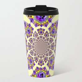 GEOMETRIC  PURPLE & YELLOW  PANSIES ON  CREAM COLOR Travel Mug