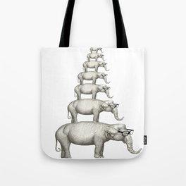 7 elefantes con gafas Tote Bag