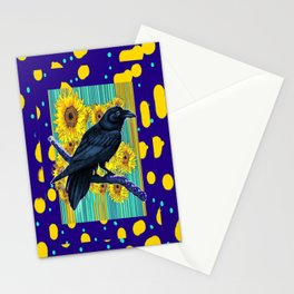 Sunflowers & Sun Spots Inky Blue Crow Modern Abstract Stationery Cards