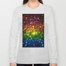Rainbow Sparkle Galaxy Stars Long Sleeve T-shirt