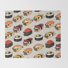 Sushi Pug Throw Blanket