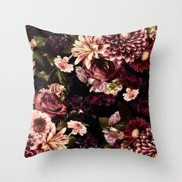 Vintage & Shabby Chic- Real Chrysanthemums Lush Midnight Flowers Botanical Garden Throw Pillow